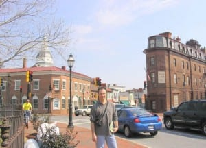 Stuart Redd in front of the Maryland Inn In Annapolis